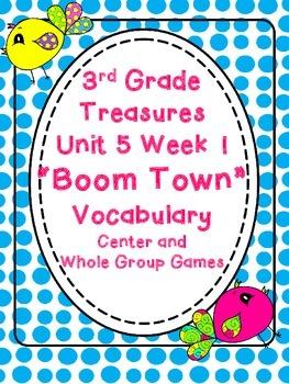 Third Grade Treasures Boom Town Vocabulary Centers Activities Unit 5 Week 1
