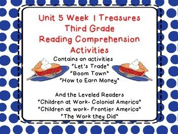 Third Grade Treasures Unit 5 Week 1 Boom Town Comprehension Activities 6 stories