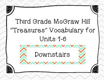 "Third Grade ""Treasures"" Vocabulary Cards Units 1-6- Teal and Orange"