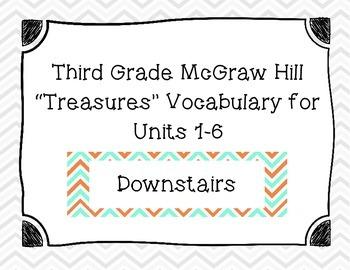 "Third Grade ""Treasures"" Vocabulary Cards Units 1-6- Teal a"