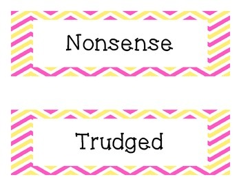 "Third Grade ""Treasures"" Vocabulary Cards Units 1-6- Pink and Yellow"