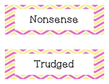 "Third Grade ""Treasures"" Vocabulary Cards Units 1-6- Pink and Yellow"
