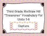 "Third Grade ""Treasures"" Vocabulary Cards Units 1-6- Pink a"