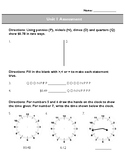 Third Grade Unit 1 Assessment: Time, Elapsed Time, Money,