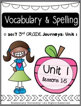 Third Grade, Unit 1, Journeys 2017 Vocabulary and Spelling