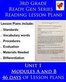 Third Grade - Unit 1 ReadyGEN Lesson Plans Modules A and B