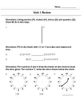 Third Grade Unit 1 Review: Time, Elapsed Time, Money, Data, Number Patterns