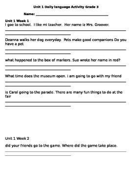 Third Grade Unit 1 Wonders Daily Language Activity