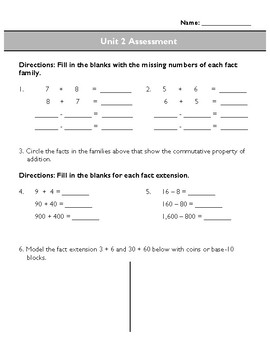 Third Grade Unit 2 Assessment: Addition and Subtraction
