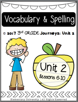 Third Grade, Unit 2, Journeys 2017 Vocabulary and Spelling