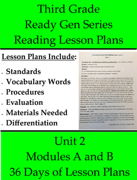 Third Grade - Unit 2 with 36 Modules A and B ReadyGEN Reading Lesson Plans
