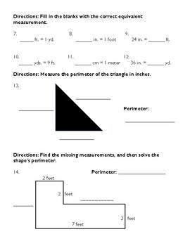 Third Grade Unit 3 Assessment: Measurement
