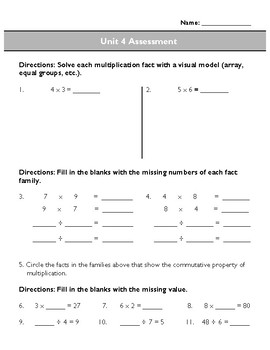 Third Grade Unit 4 Assessment: Multiplication and Division