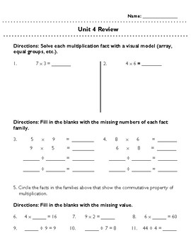 Third Grade Unit 4 Review: Multiplication and Division