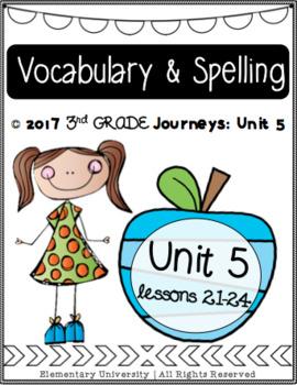Third Grade, Unit 5, Journeys 2017 Vocabulary and Spelling
