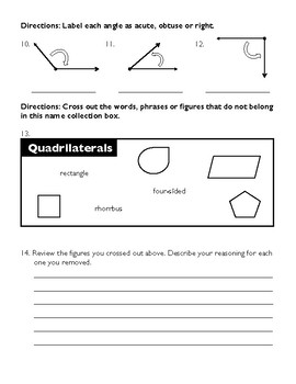 Third Grade Unit 6 Assessment: Geometry
