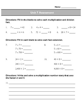 Third Grade Unit 7 Assessment: Multiplication and Division