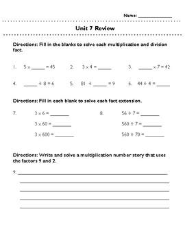 Third Grade Unit 7 Review: Multiplication