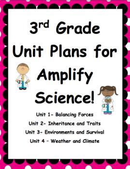 Third Grade Unit Plans for Amplify Science Units 1-4! BUNDLE!