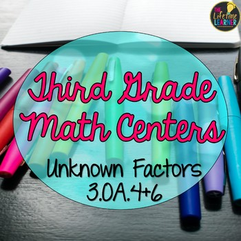 Third Grade Unknown Multiplication and Division Factors Math Centers
