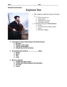 Third Grade Virginia Explorers Assessment