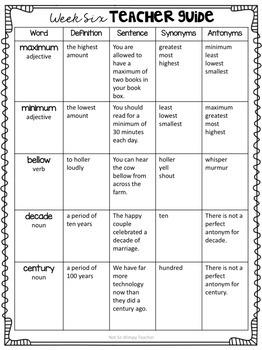 Third Grade Vocabulary Builders Unit 3
