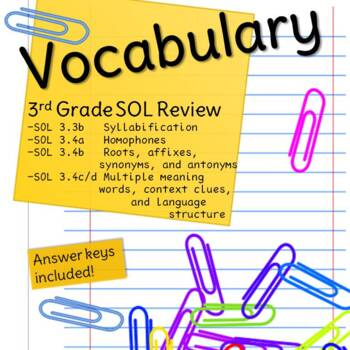 Third Grade Vocabulary SOL Review