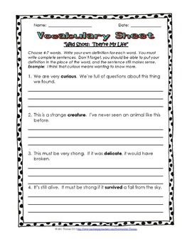 Third Grade Vocabulary Worksheets