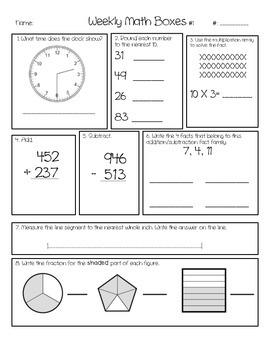 Third Grade Weekly Math Boxes, CCSS