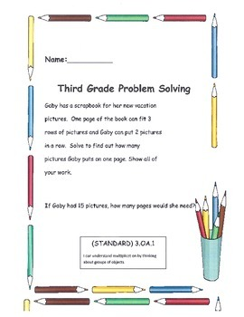 Third Grade Weekly Problem Solving Common Core Math Standards