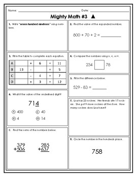 Third Grade AIR Formatted Weekly Spiral Math #1-10 (Differentiated)