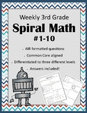 Third Grade AIR Formatted Weekly Spiral Math #1-10 (Differ