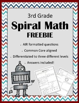 FREEBIE! Third Grade Weekly Spiral Math