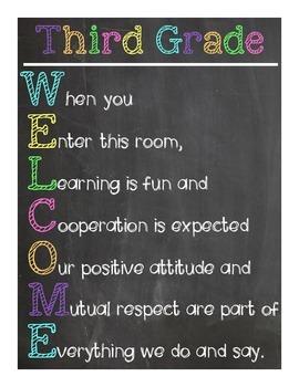 Third Grade Welcome Sign