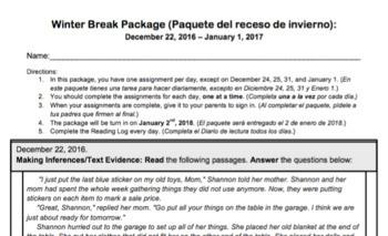 Third Grade Winter Break Package 2017