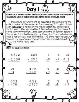 Third Grade Winter Break Packet