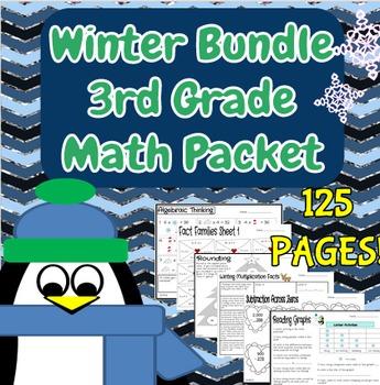 Third Grade Winter Bundle of Math Review Printables
