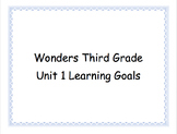 Third Grade Wonders Unit 1 Learning Goals
