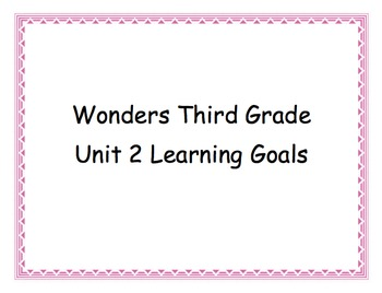 Third Grade Wonders Unit 2 Learning Goals