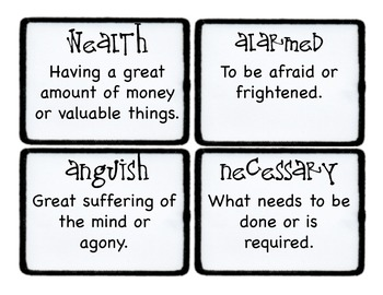 Third Grade Wonders Vocabulary Cards - Unit 6
