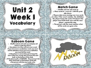 Third Grade Wonders Vocabulary Cards and Games Unit 2 Bundle