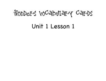 Third Grade Wonders Vocabulary - Unit 1, Lesson 1