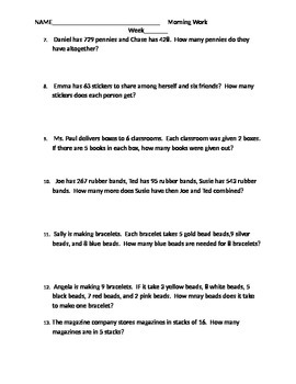 Third Grade Word Problems