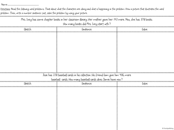3rd Grade Word Problems: Sketch and Solve (Add/Subtract within 1,000)
