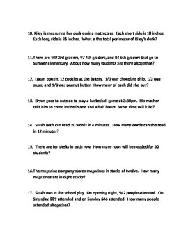 Third Grade Word Problems Common Core