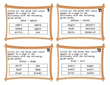 Third Grade Word Reference Task Cards