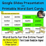 Third Grade Word Sorts for the Entire Year ReadyGen Aligned