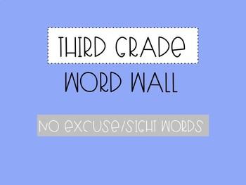 Third Grade Word Wall - No Excuse Words (Editable)