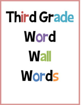 Third Grade Word Wall Words for Classroom Display