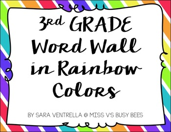 Third Grade Word Wall in Rainbow Colors